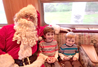 Jacob and Zach meet Santa on the train to Christmas Town